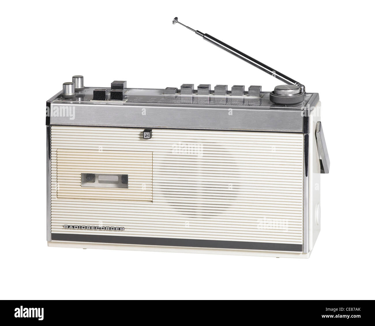 studio shot of a old nostalgic radio isolated on white with clipping path - Stock Image