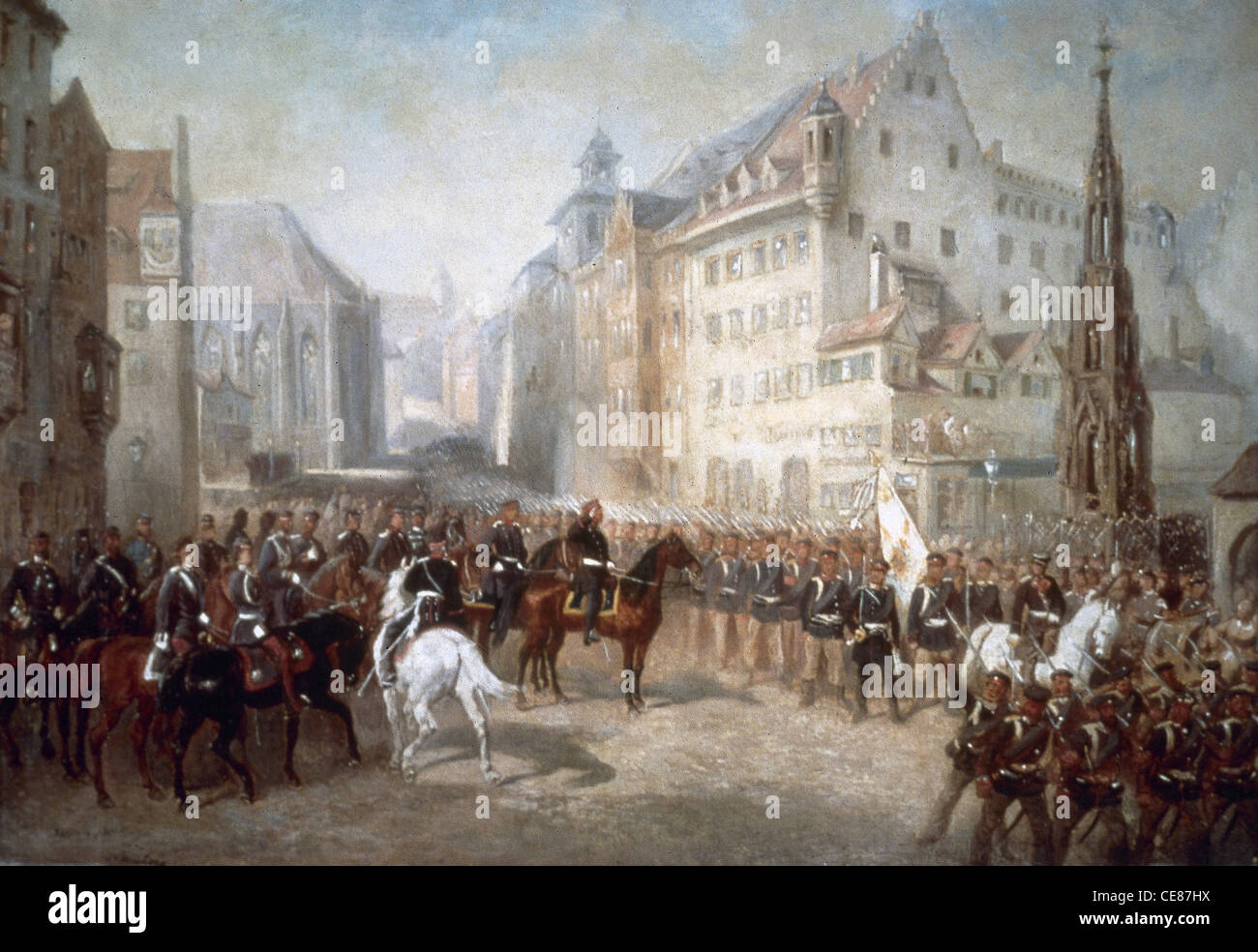 Austro-Prussian War. Parade of troops in the Market Square in Nuremberg during the Prussian occupation (1866). By - Stock Image