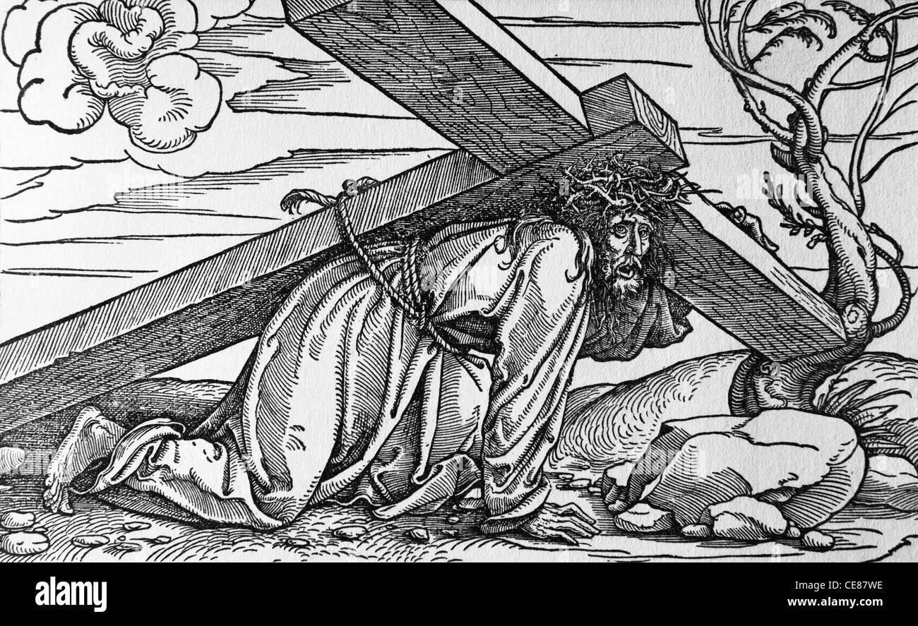 Jesus under cross - lithography by Durer 1523 - Stock Image