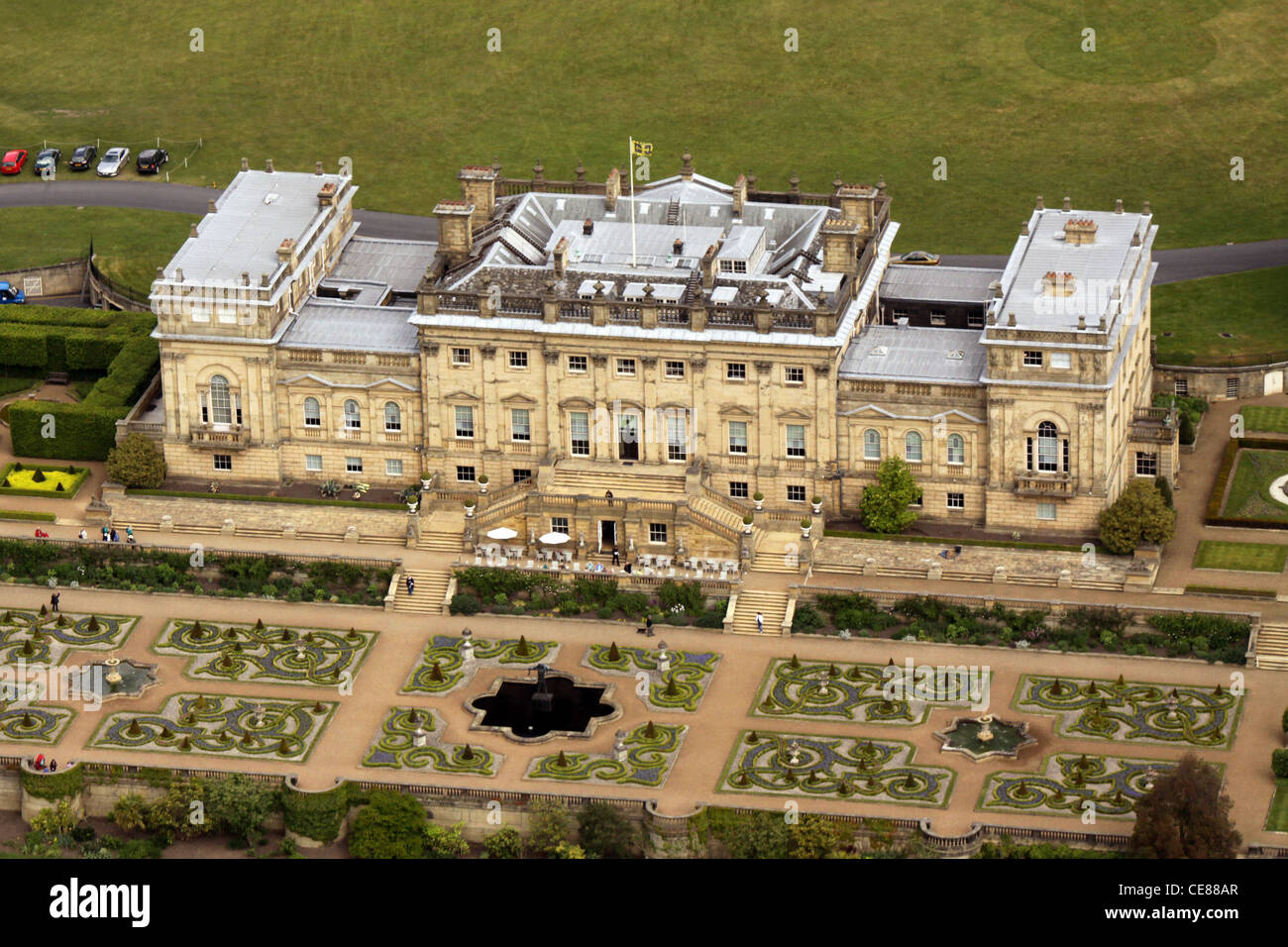 Aerial view of Harewood House stately home, north of Leeds - Stock Image