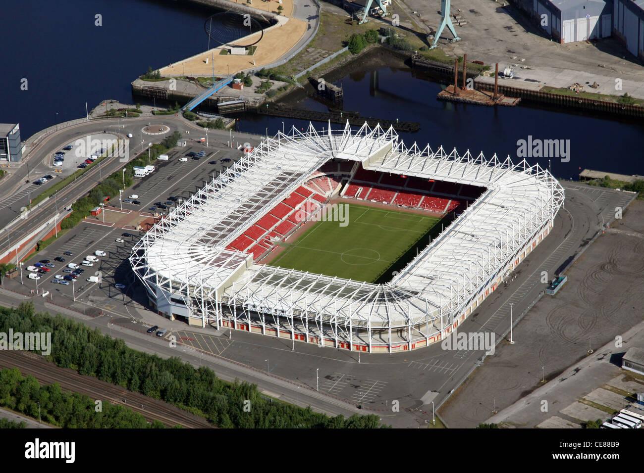Aerial photograph of Middlesborough FC's Riverside Stadium - Stock Image