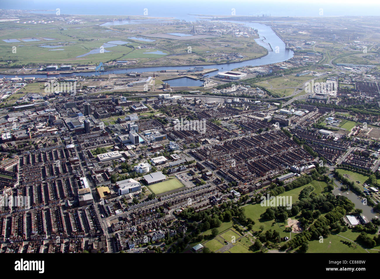 Aerial view of Middlesborough looking out across the Tees River towards the North Sea - Stock Image