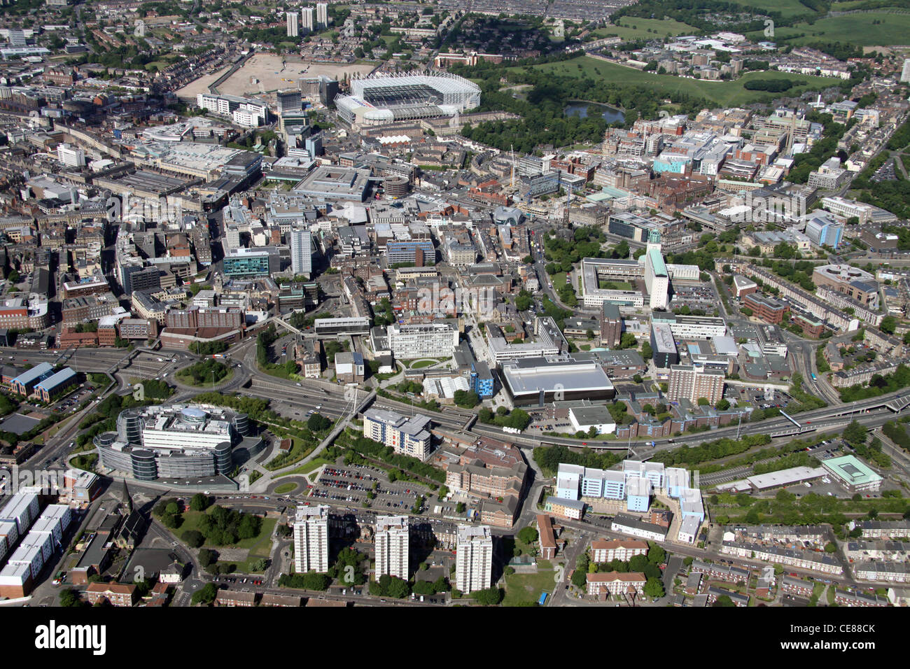 Northumbria University from the air with Newcastle-upon-Tyne also - Stock Image