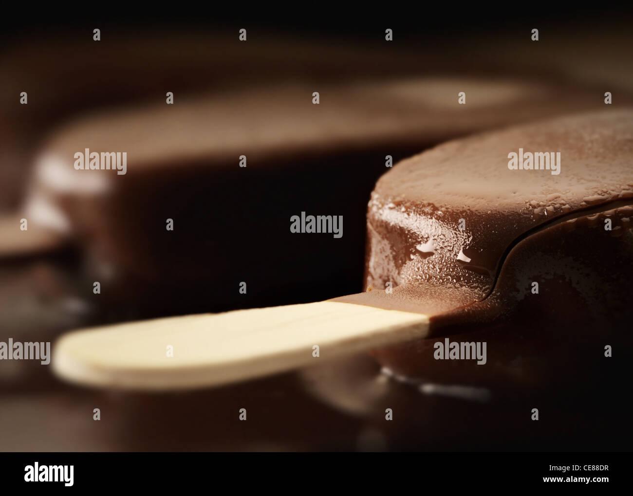 Melting Ice Cream Chocolate Bar Close-up - Stock Image