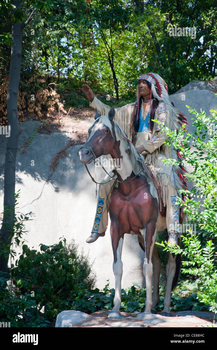 Statue Of Indian at Disneyland Park, Anaheim, California USA