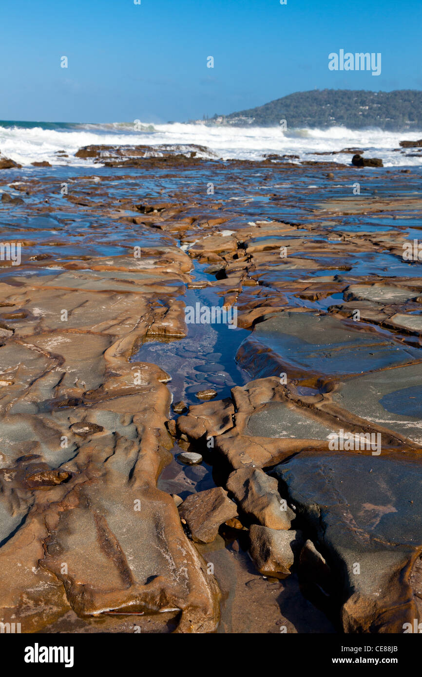Rock foreshore on great Ocean Road Victoria - Stock Image