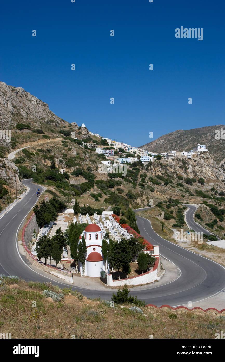 Karpathos: road to Menetes village Stock Photo