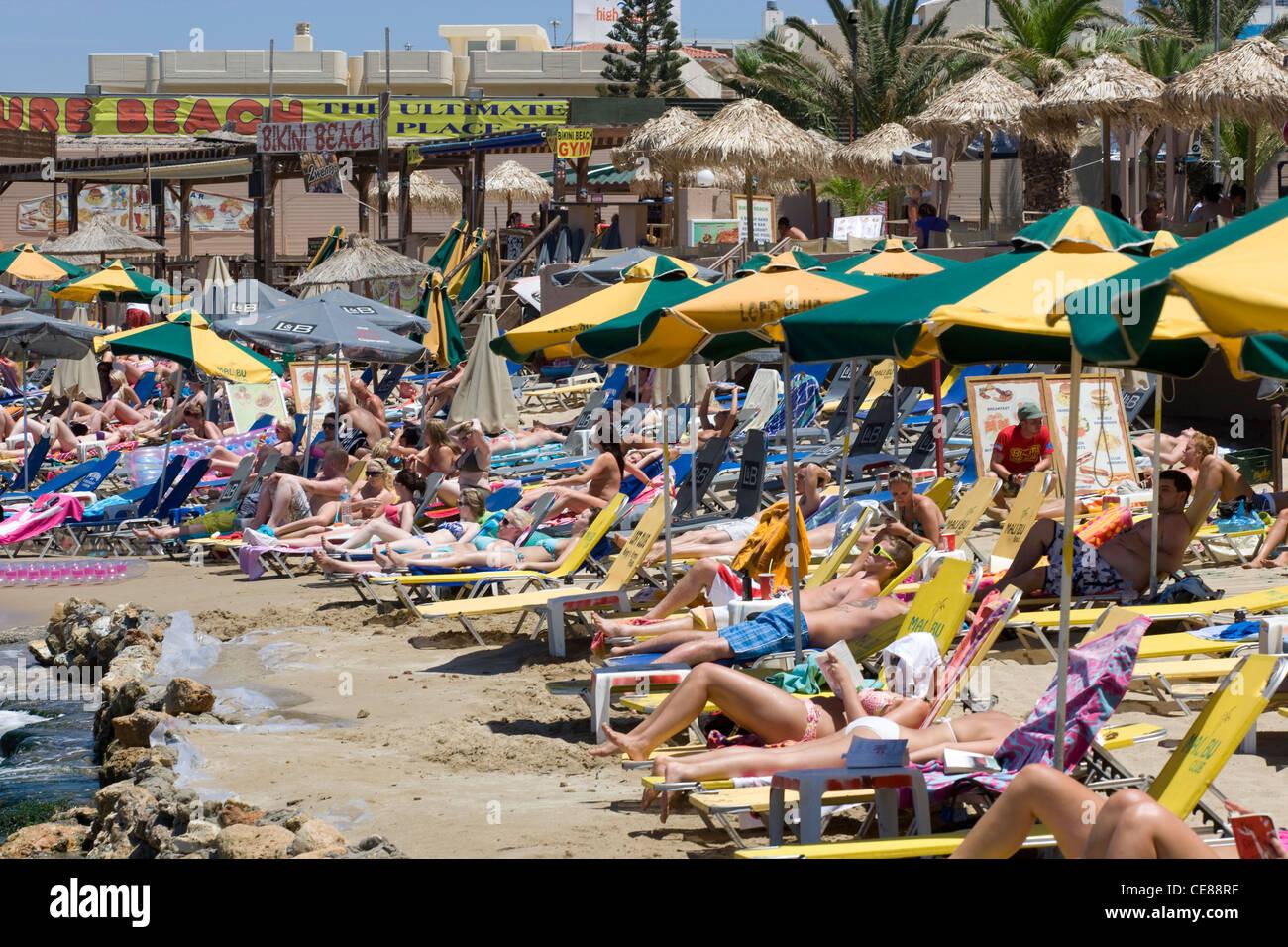 Crete: Malia resort beach - Stock Image