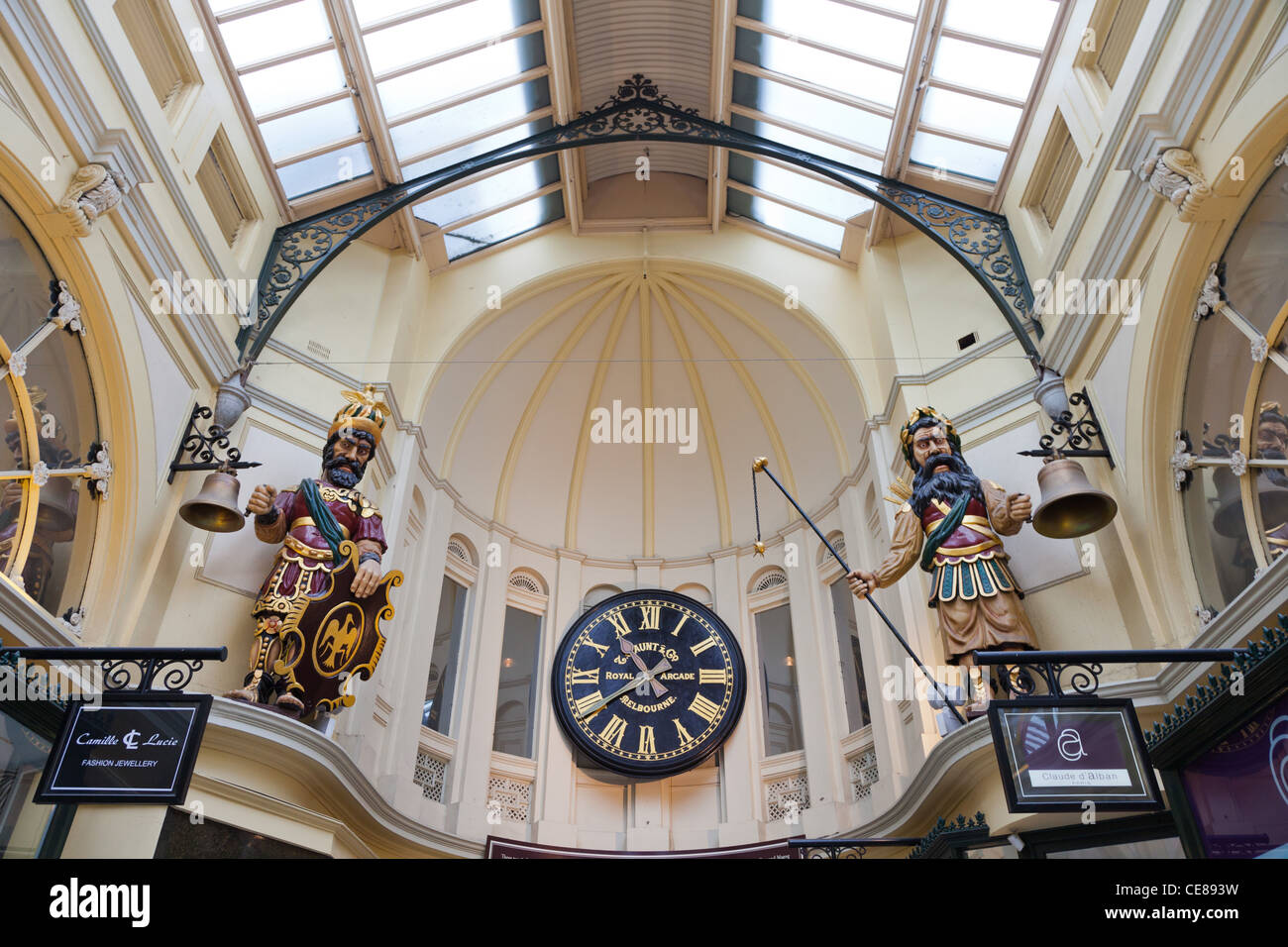 Clock details at the Royal Arcade Melbourne Australia - Stock Image