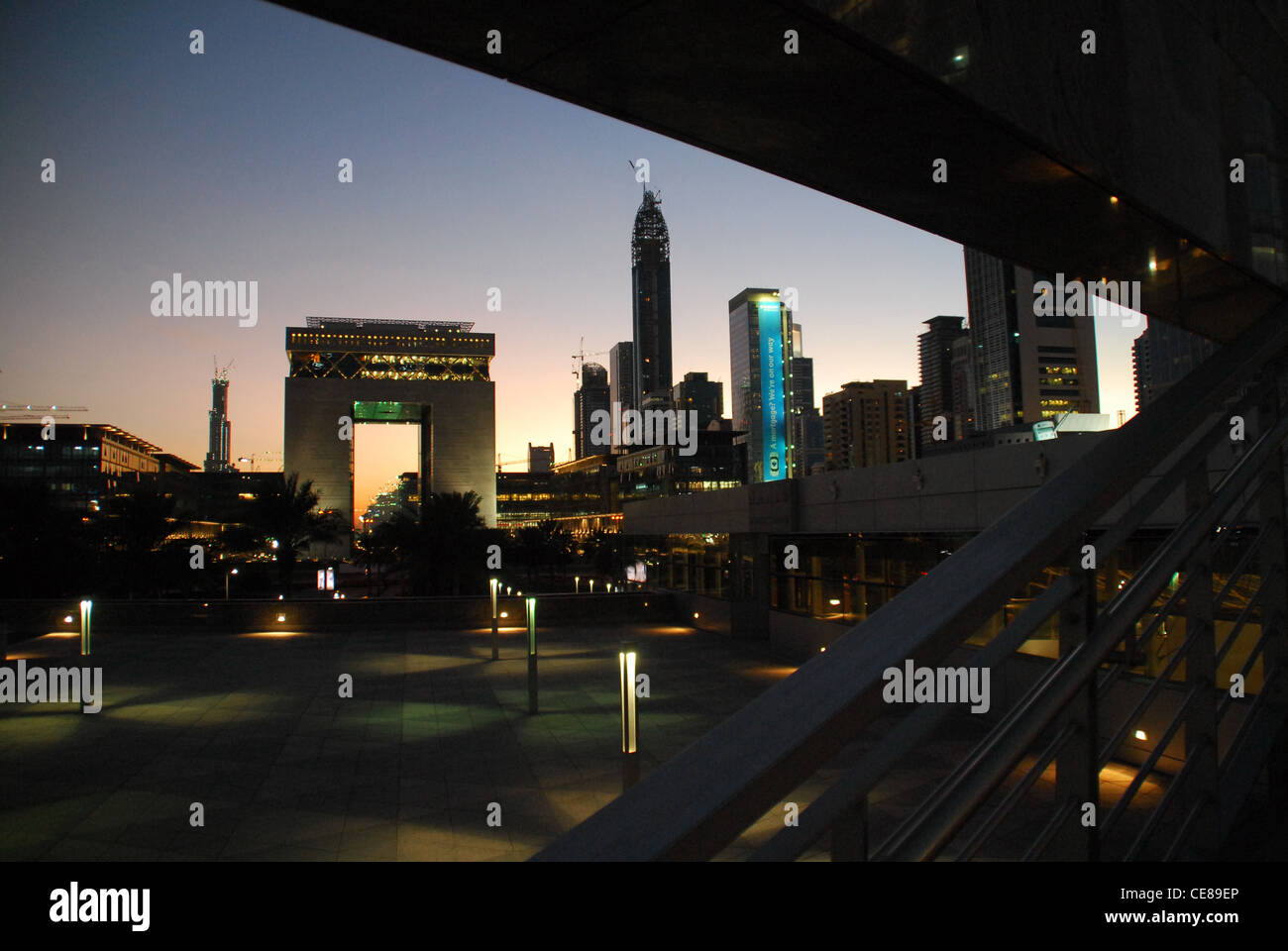 The Dubai Intl Financial Center (DIFC) representing the world's leading players in financial services, banking, - Stock Image
