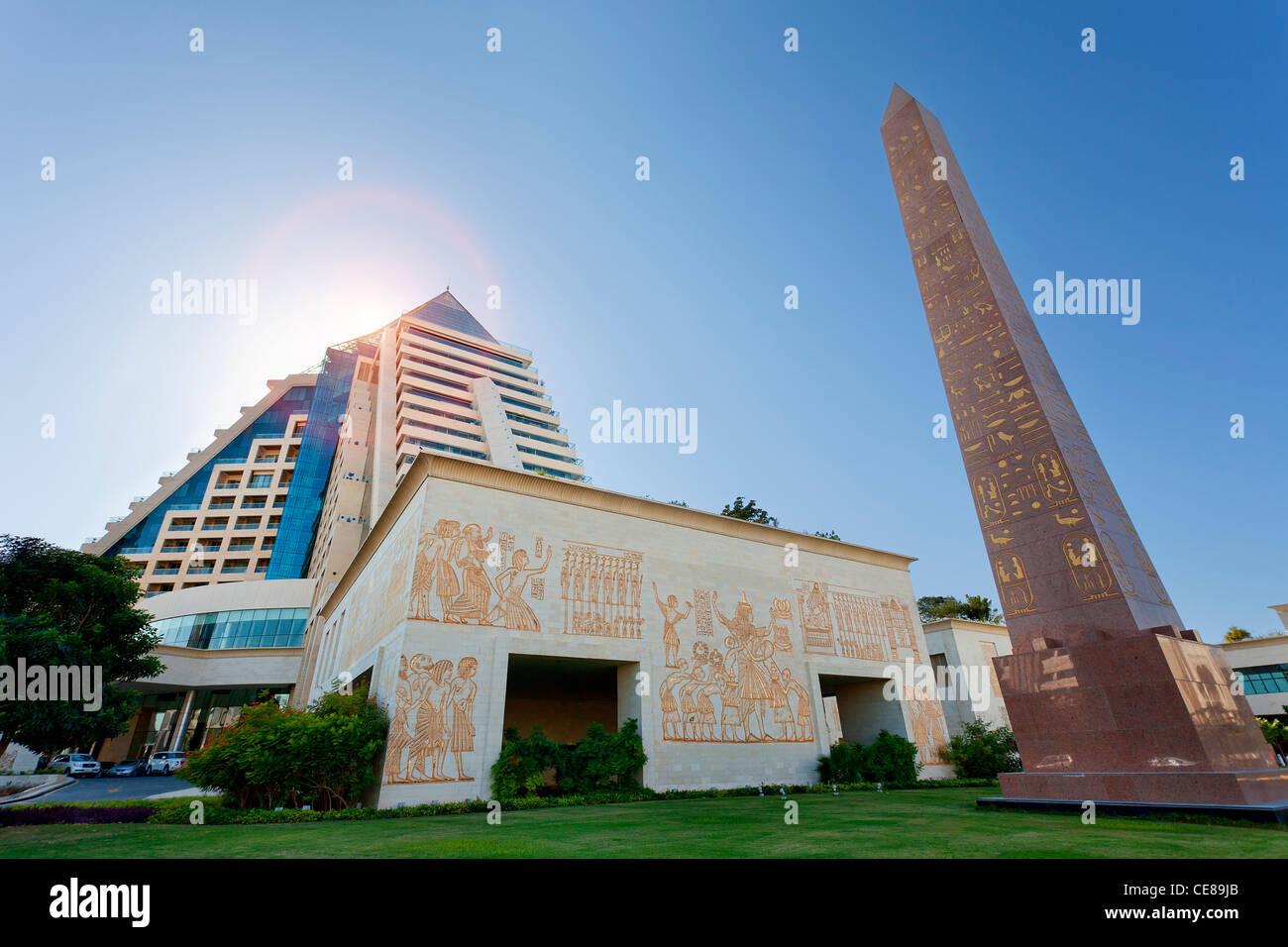 Dubai, Wafi City and Raffles Hotel - Stock Image