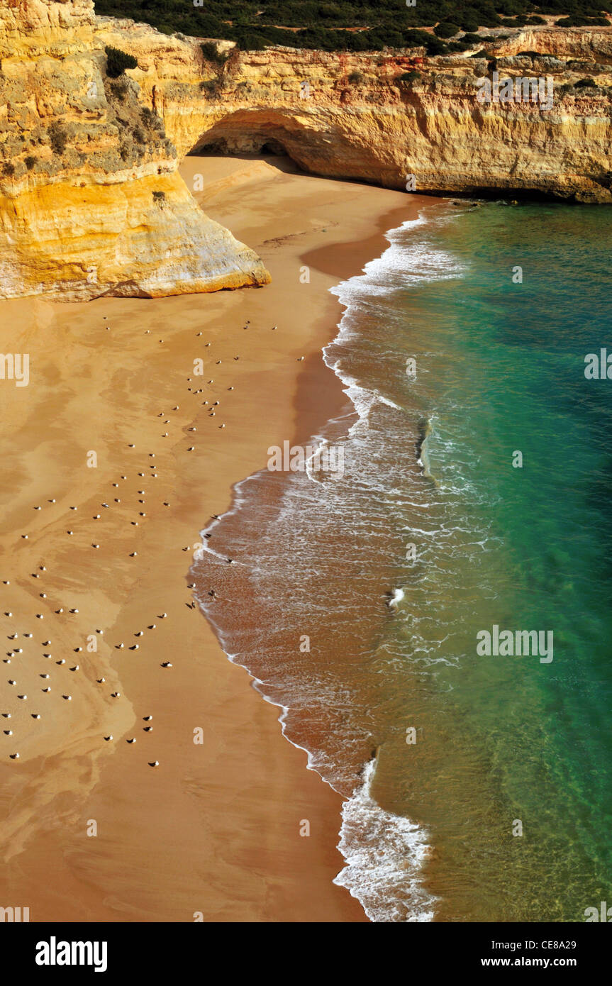 Portugal, Algarve: Untouchable and unspoiled rocky bay at the coast around Carvoeiro - Stock Image