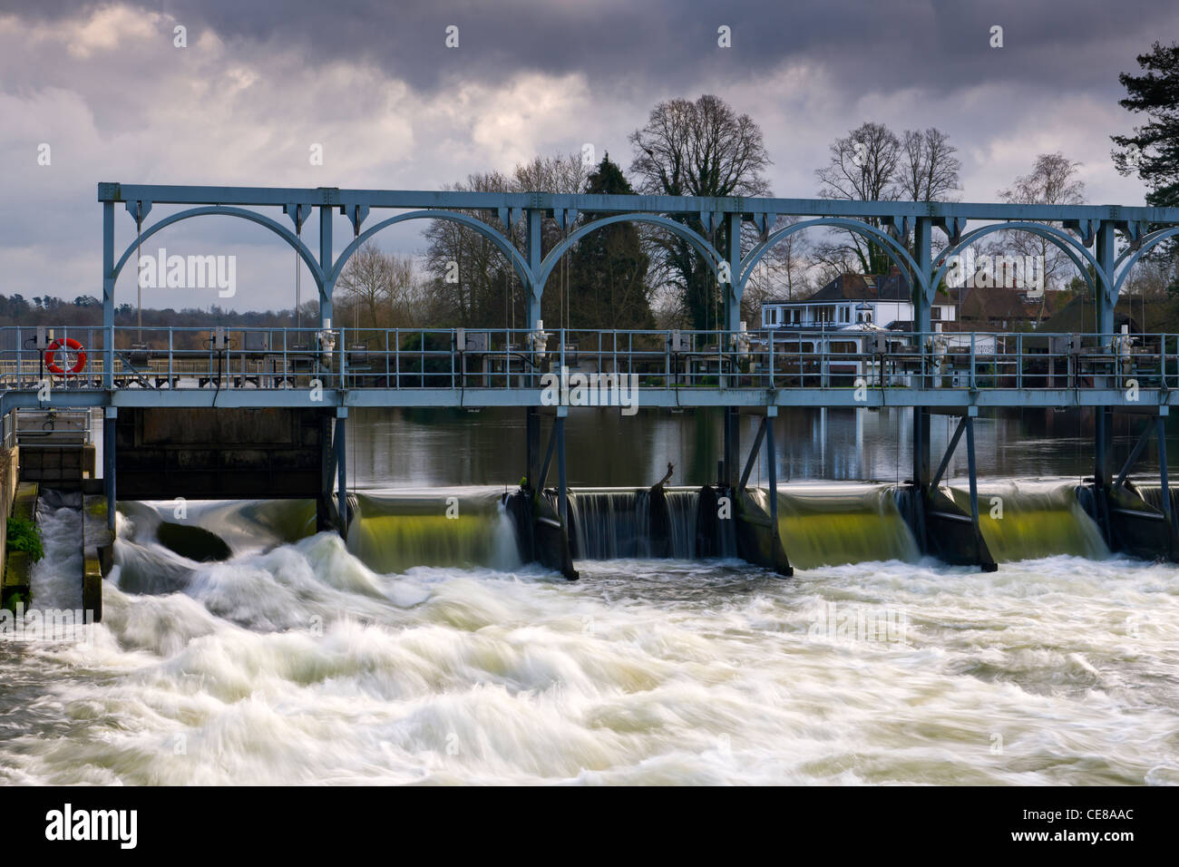 Sluice Gates on the River Thames - Stock Image