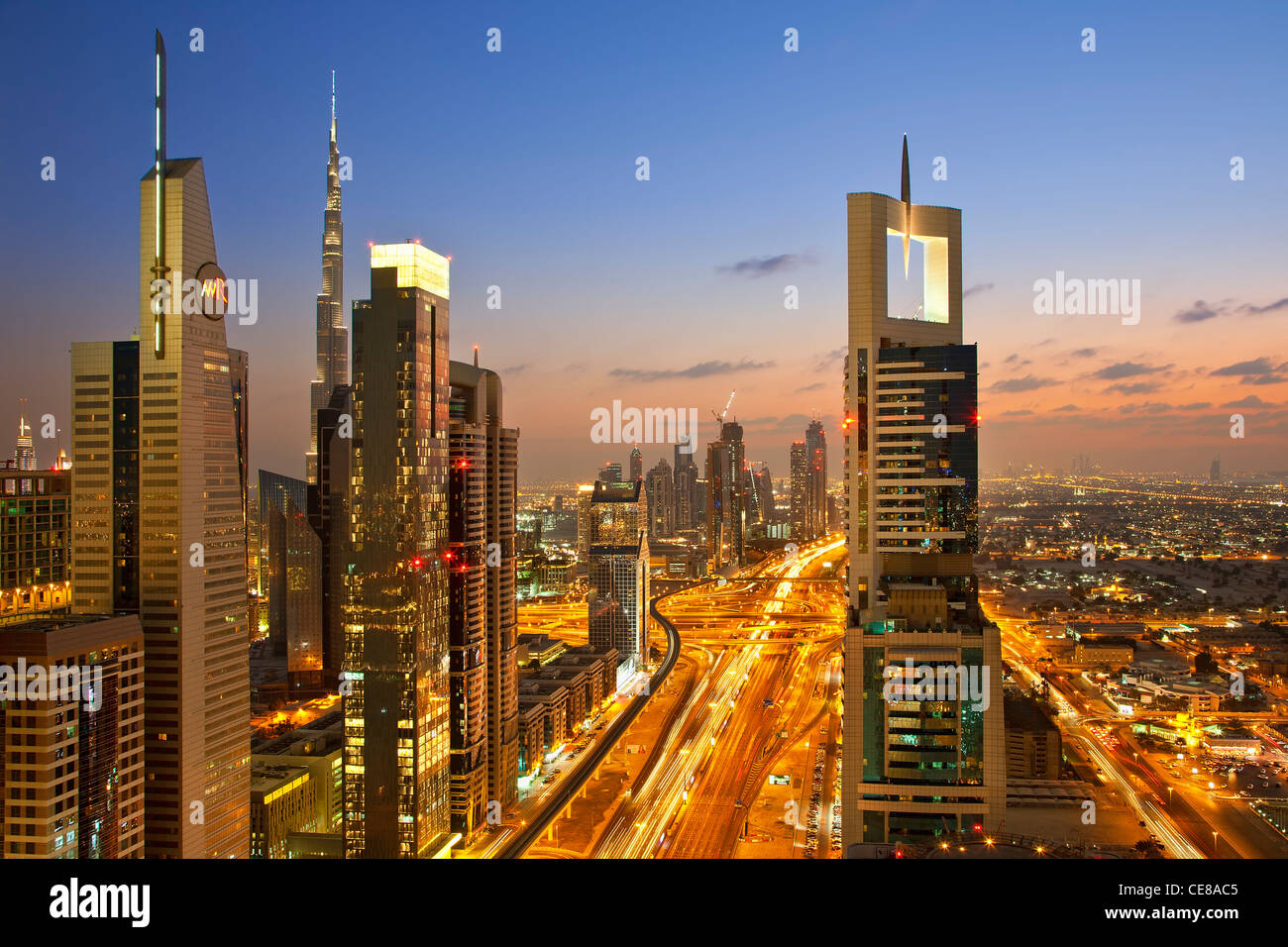 Dubai, Towering office and apartment towers along Sheikh Zayed Road Stock Photo
