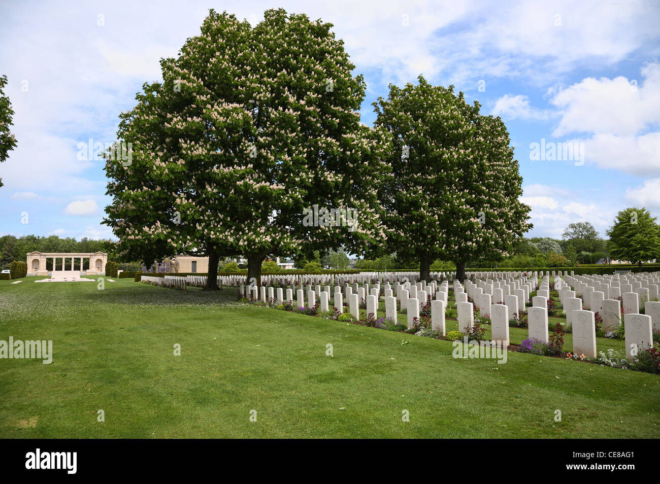 Memorial and graves under blooming chestnut trees in The Bayeux War Cemetery - The British War Cemetery at Bayeux, Stock Photo