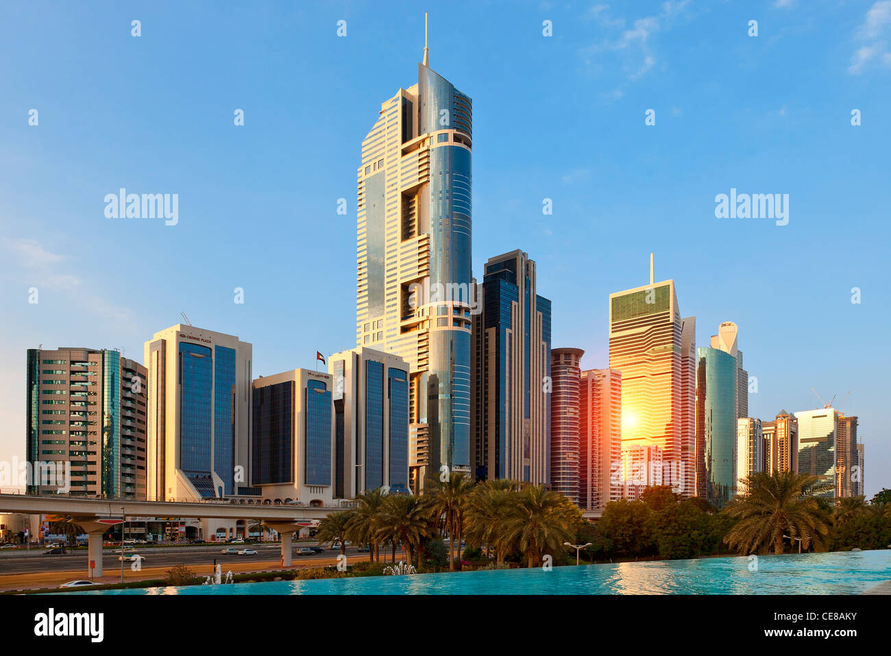 Dubai, Skyscrapers along Sheikh Zayed Road - Stock Image