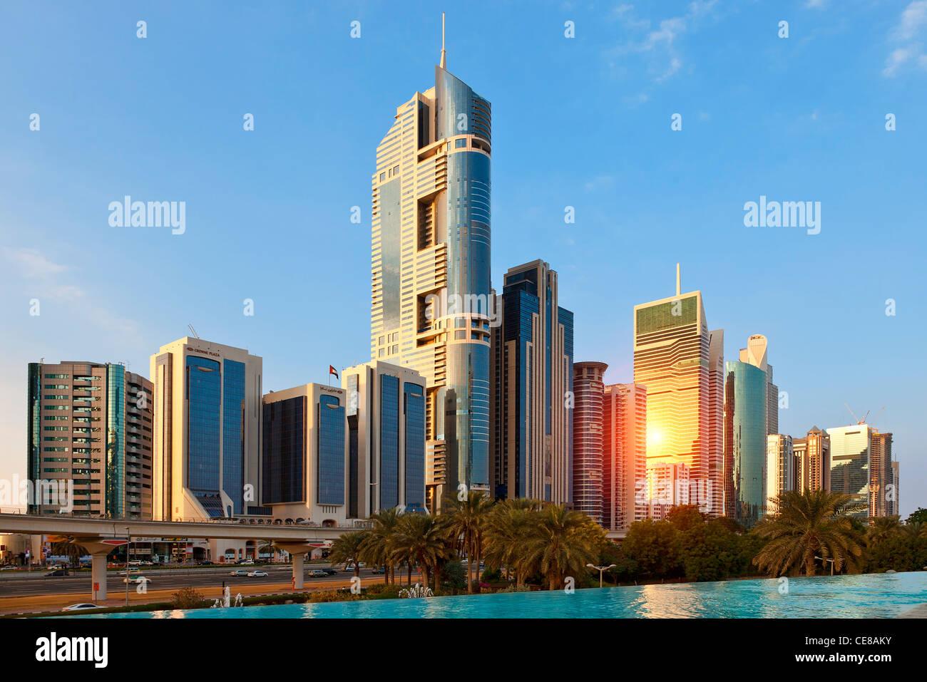 Dubai, Skyscrapers along Sheikh Zayed Road - Stock Image
