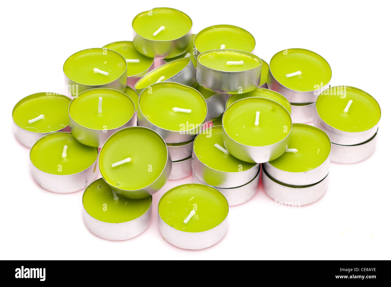 pile green tea light candles - Stock Image