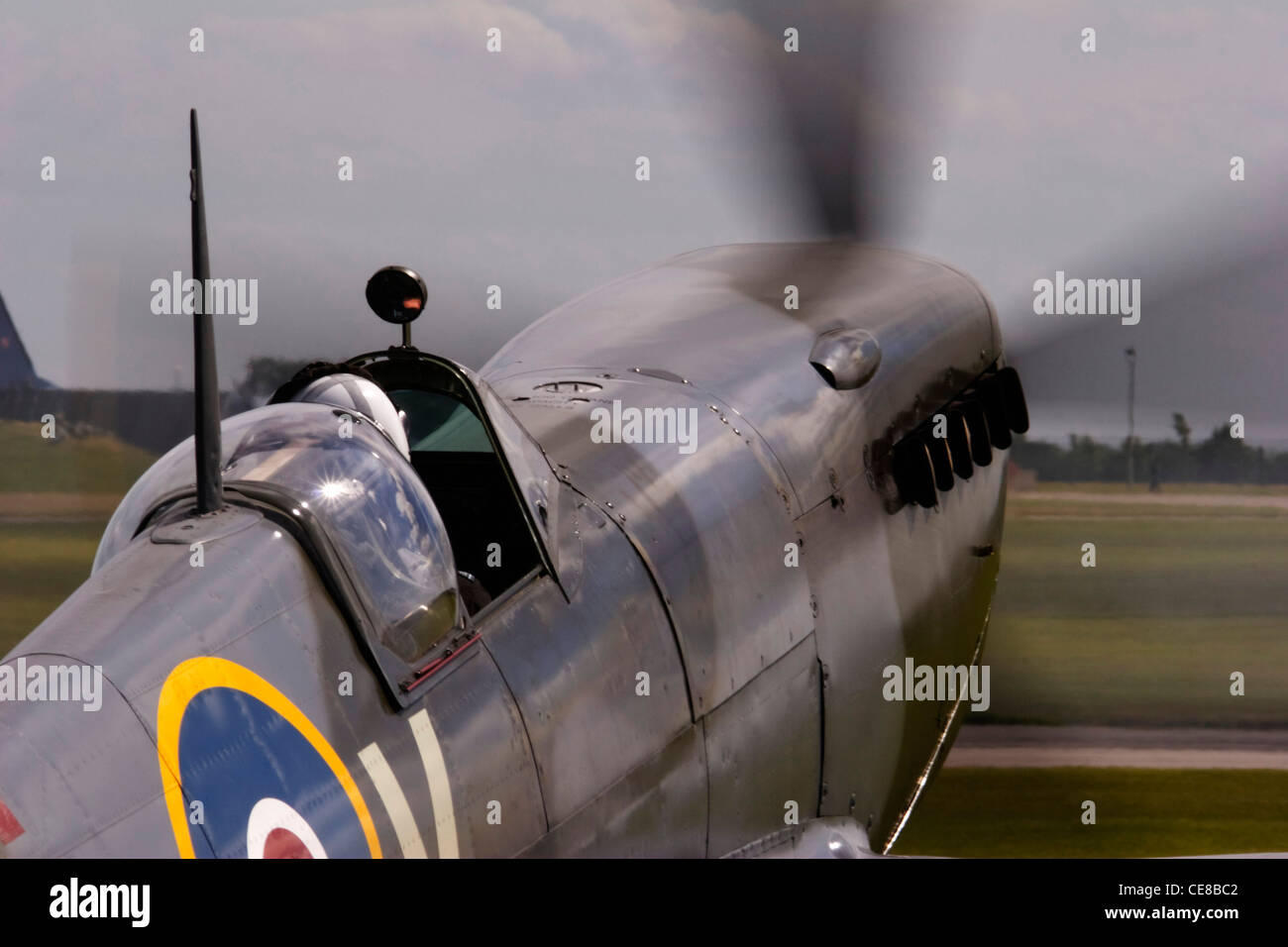 BBMF Spitfire at RAF Waddington Airshow 2005. 80th anniversary in 2016 - Stock Image