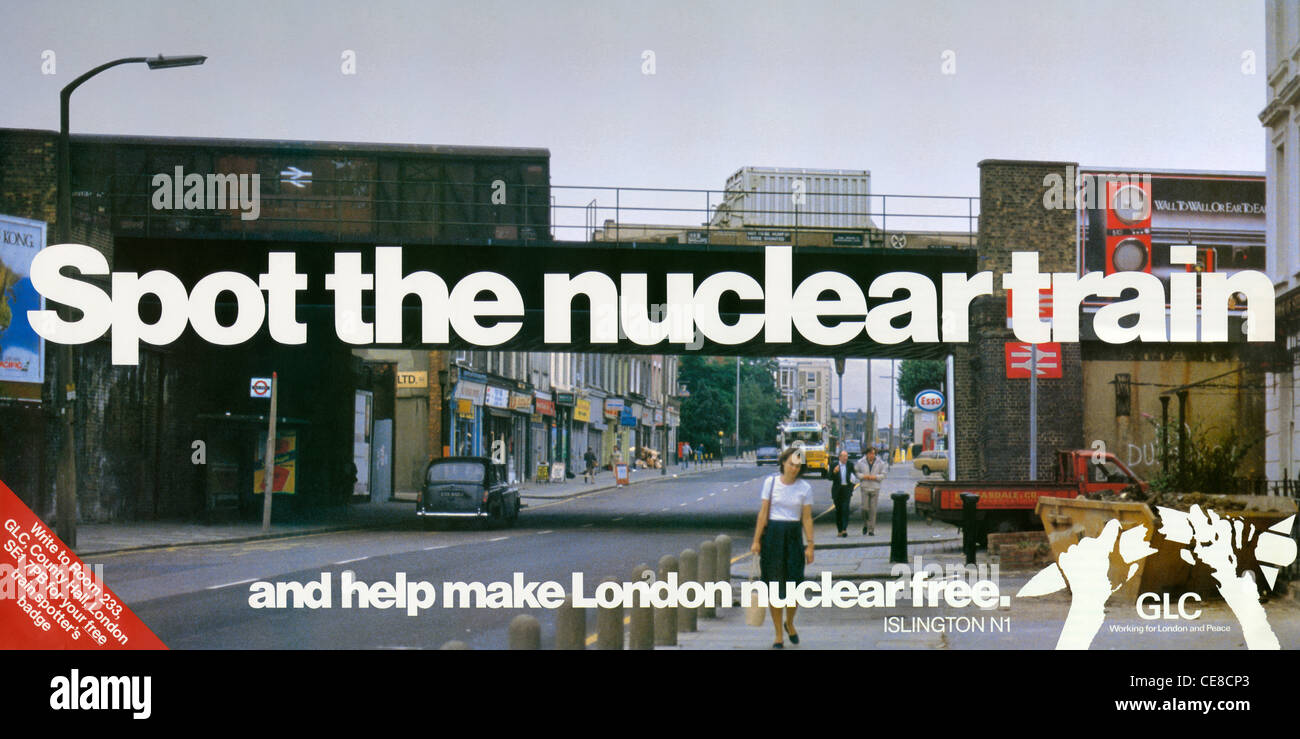 An anti-nuclear poster produced by the Greater London Council in 1983, reproducing a photo by Martin Bond. - Stock Image