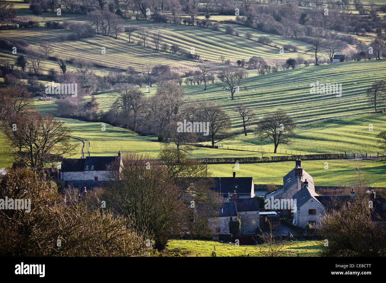 Medieval ridge and furrow markings in fields at Brassington, Derbyshire - Stock Image