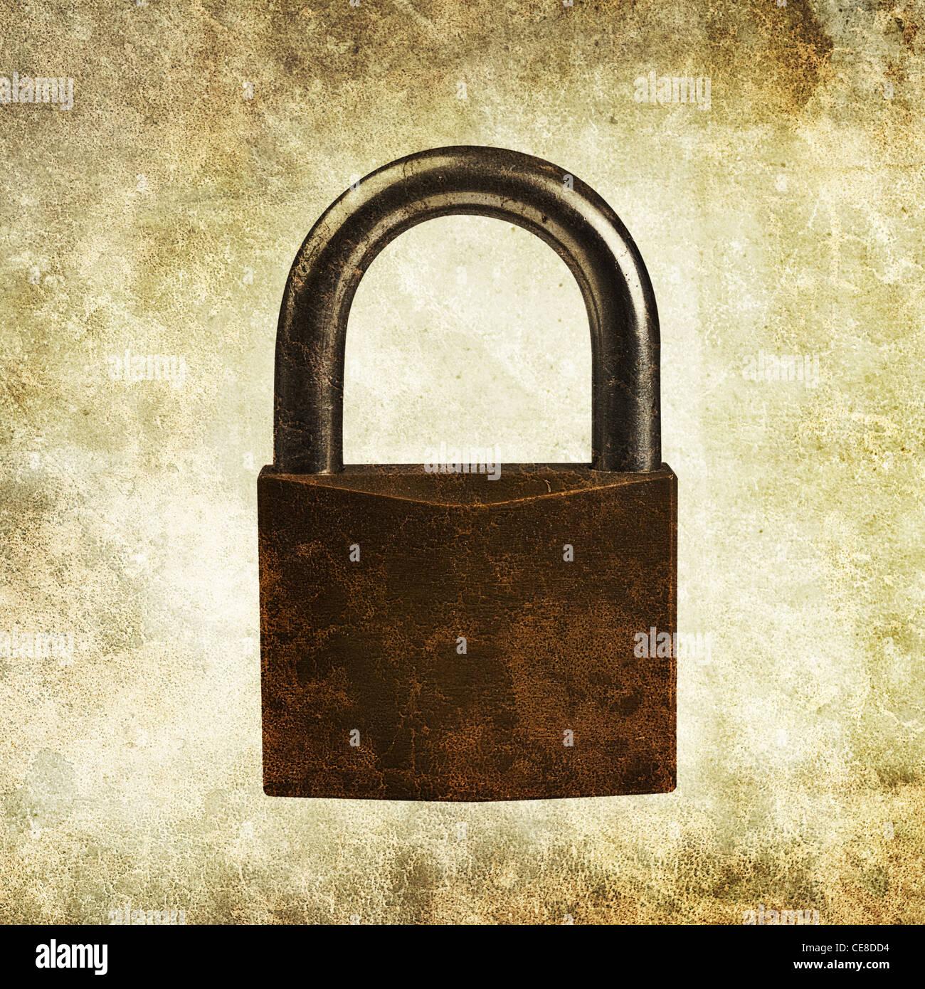 padlock print - Stock Image