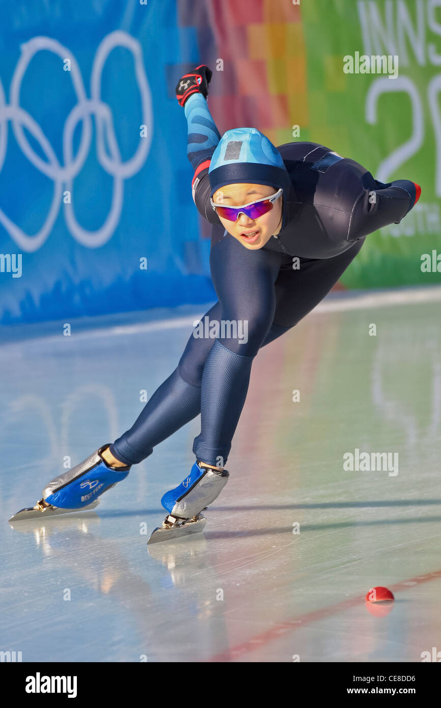 YOG 2012, Youth Olympic Games 2012, Innsbruck, Clare Joeng (USA) places 8th in the ladies' 3000m speed skating - Stock Image