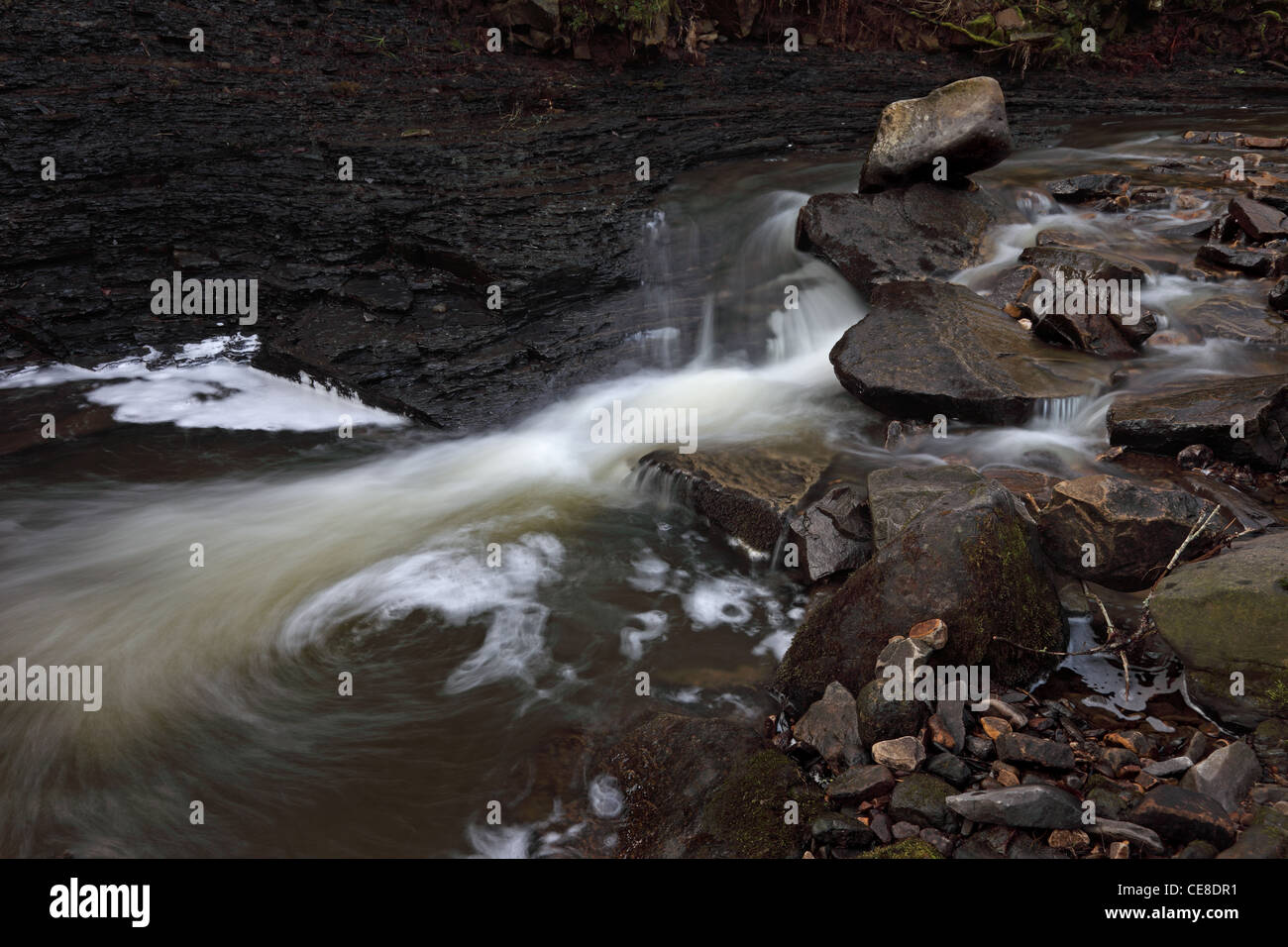 Middlehope Burn Running Through a Site of Special Scientific Interest Known as Slit Wood Westgate Weardale County - Stock Image