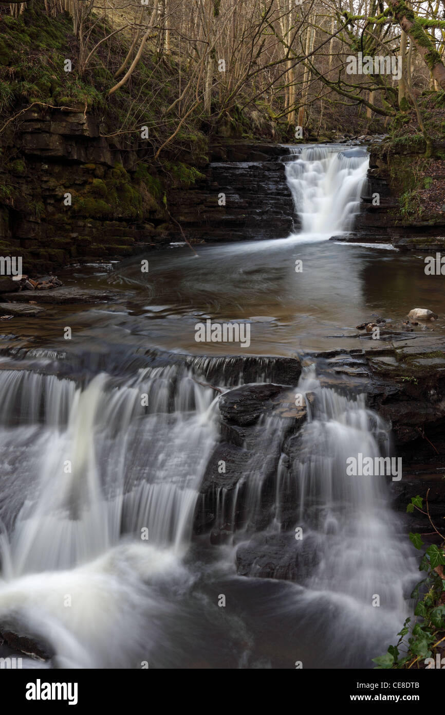 High Mill Waterfall on Middlehope Burn, Slit Wood SSI, Westgate, Weardale County Durham UK - Stock Image