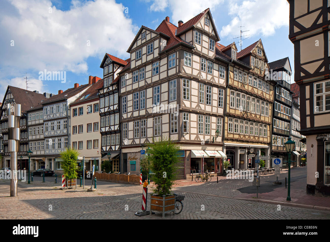 Kramerstraße with half-timbered houses in the historic old town, Hannover, Lower Saxony, Germany - Stock Image