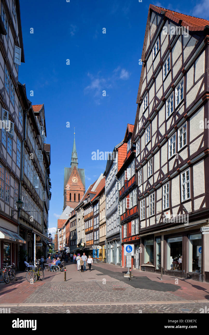 Kramerstraße, shopping street with half-timbered houses and the Market Church / Marktkirche at Hannover, Lower - Stock Image
