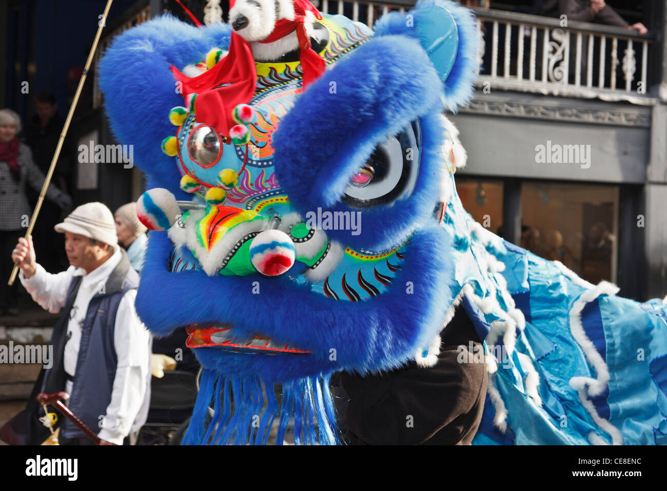 Chinese New Year of the dragon parade in the city street. Chester, Cheshire, England, UK. - Stock Image