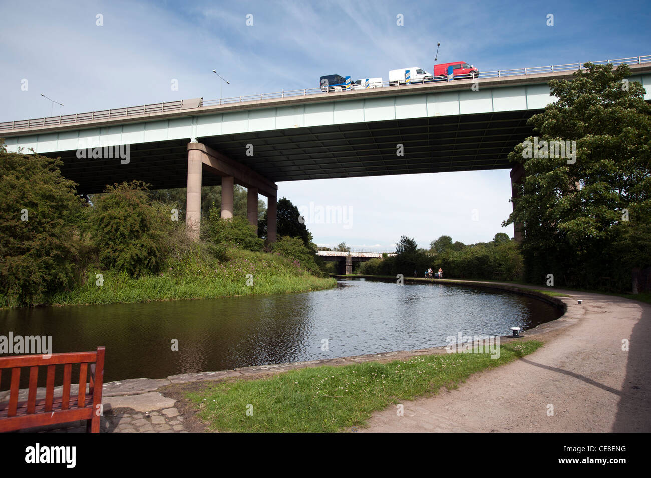 M6 motorway over the Leeds and Liverpool canal Stock Photo