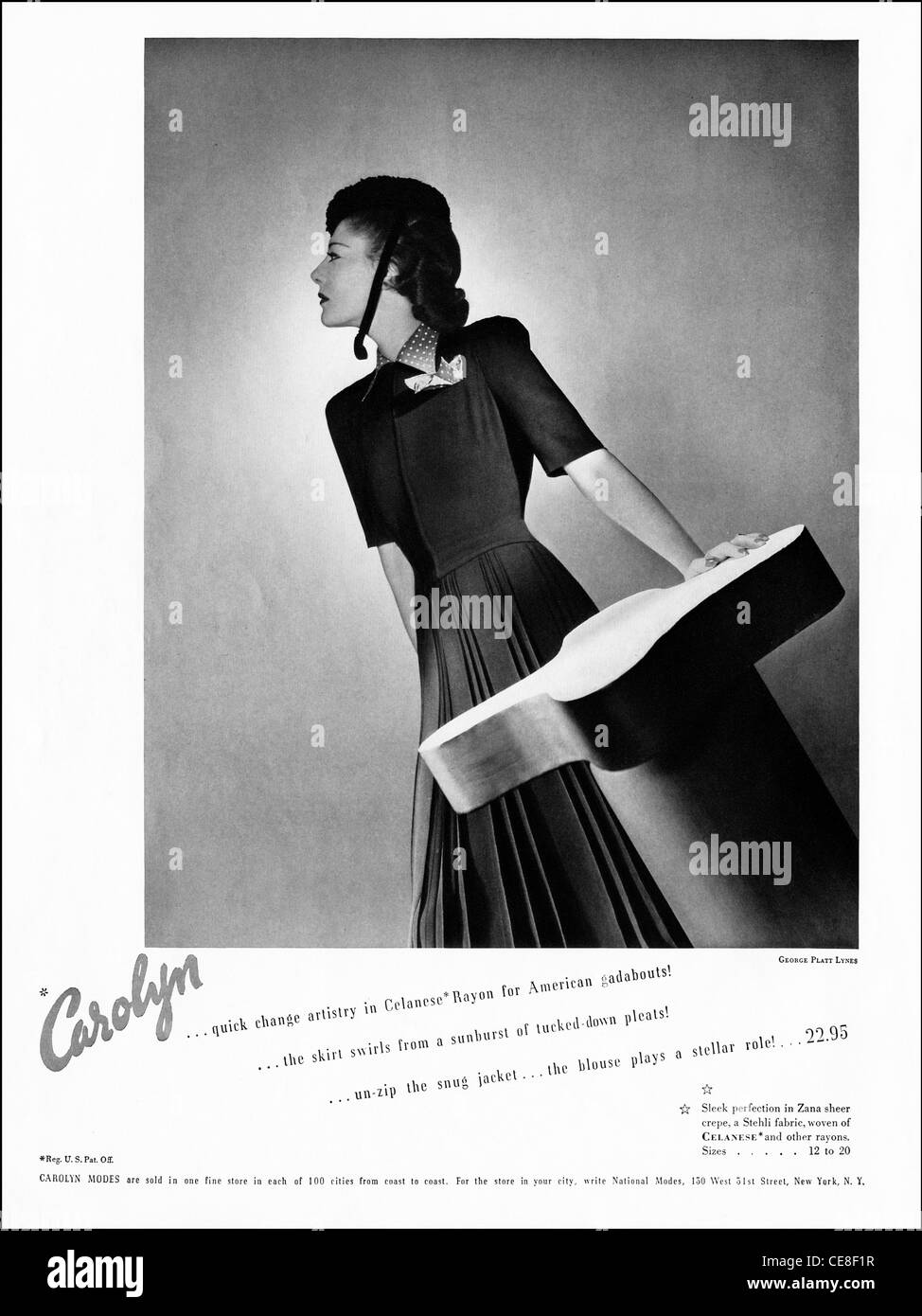 Original full page advert circa 1938 in American ladies fashion magazine advertising dresses in Celanese Rayon fabric - Stock Image