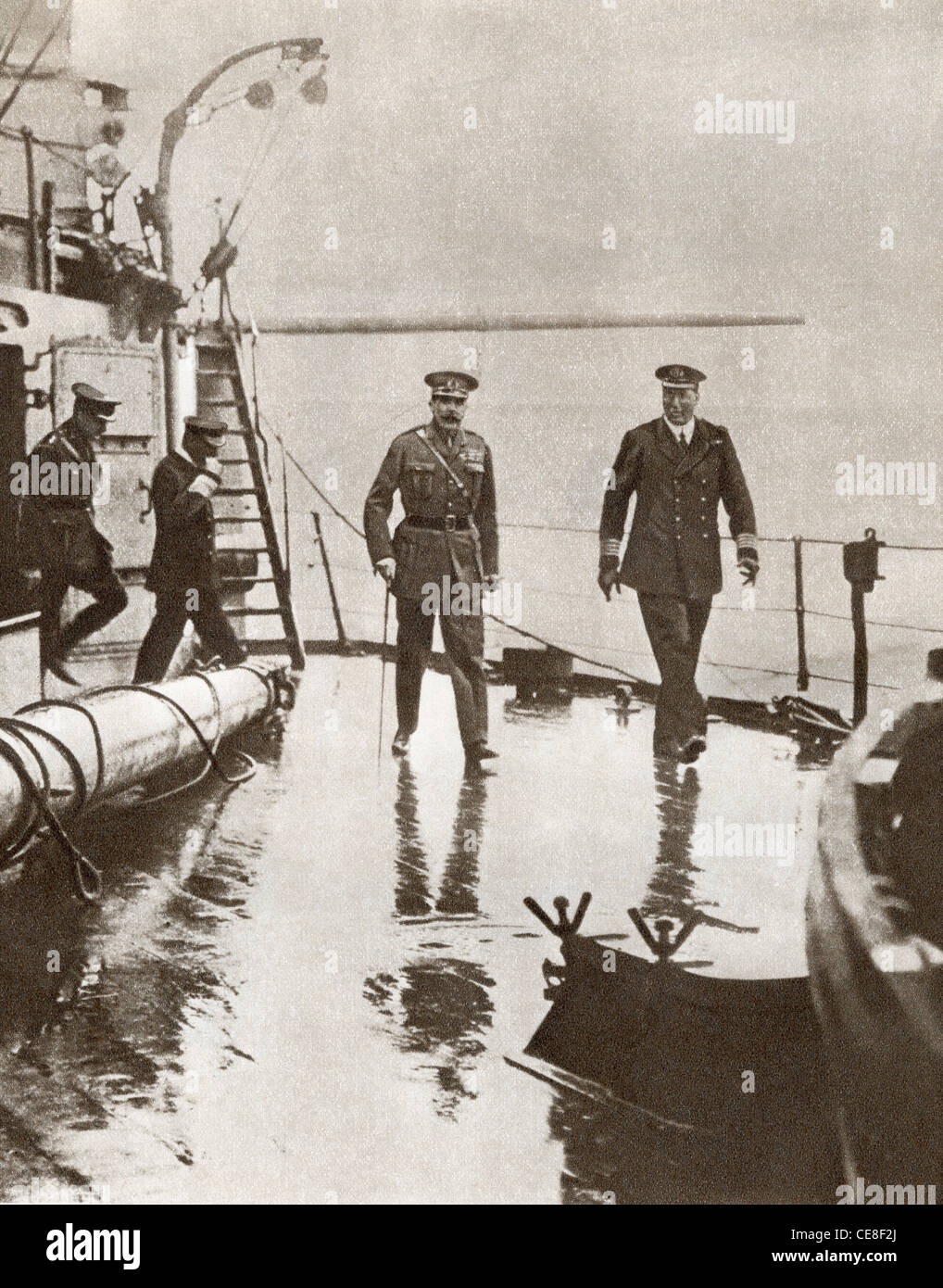 Field Marshal Kitchener and Admiral Dreyer aboard H.M.S. Iron Duke at Scapa Flow during First World War. - Stock Image