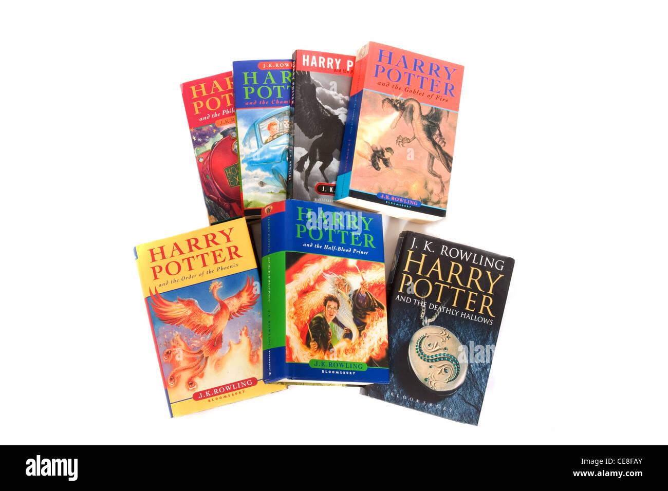 All seven Harry Potter books. - Stock Image