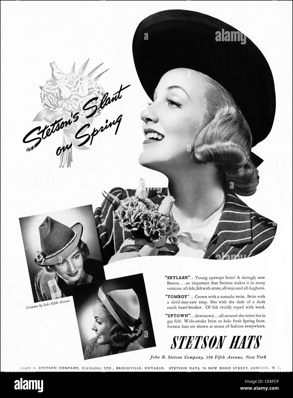 Original full page advert circa 1938 in American ladies fashion magazine  advertising STETSON HATS for Spring d3018e04379