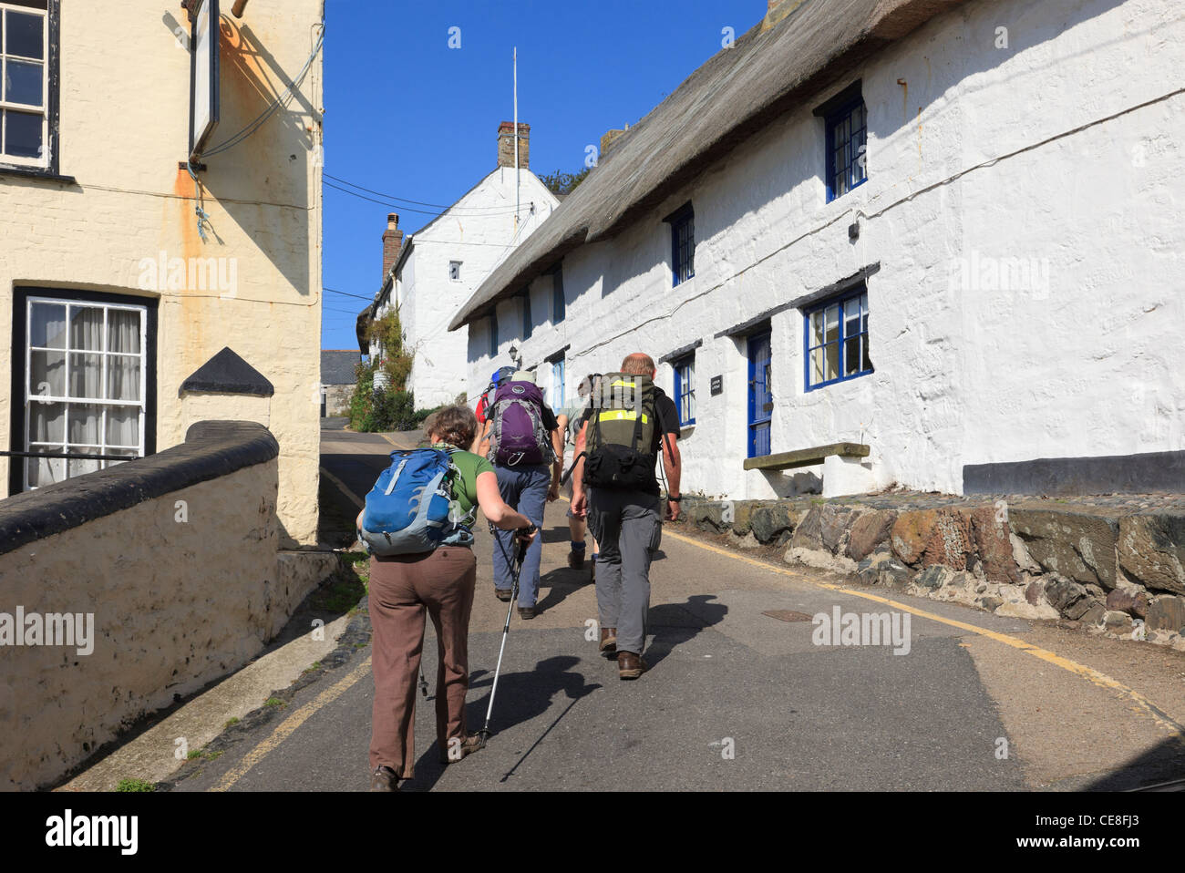 Group of walkers walking up steep hill through narrow village street with white cottages in Cadgwith Cornwall England - Stock Image