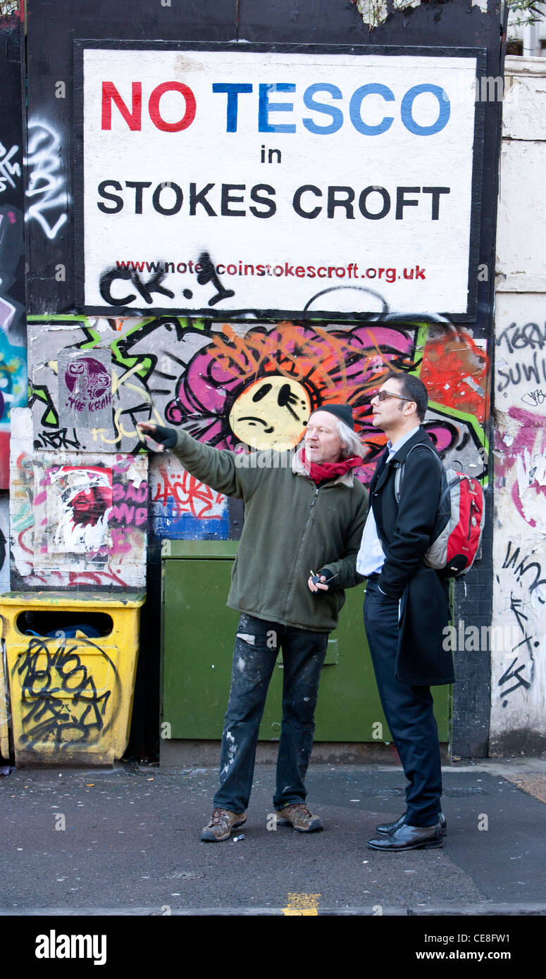 Mark Carroll ,in black coat, from DCLG visits Stokescroft, Bristol . - Stock Image