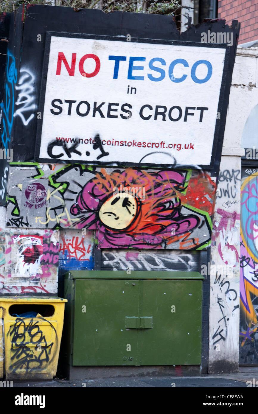 Anti tesco graffiti, Stokes Croft, Bristol - Stock Image