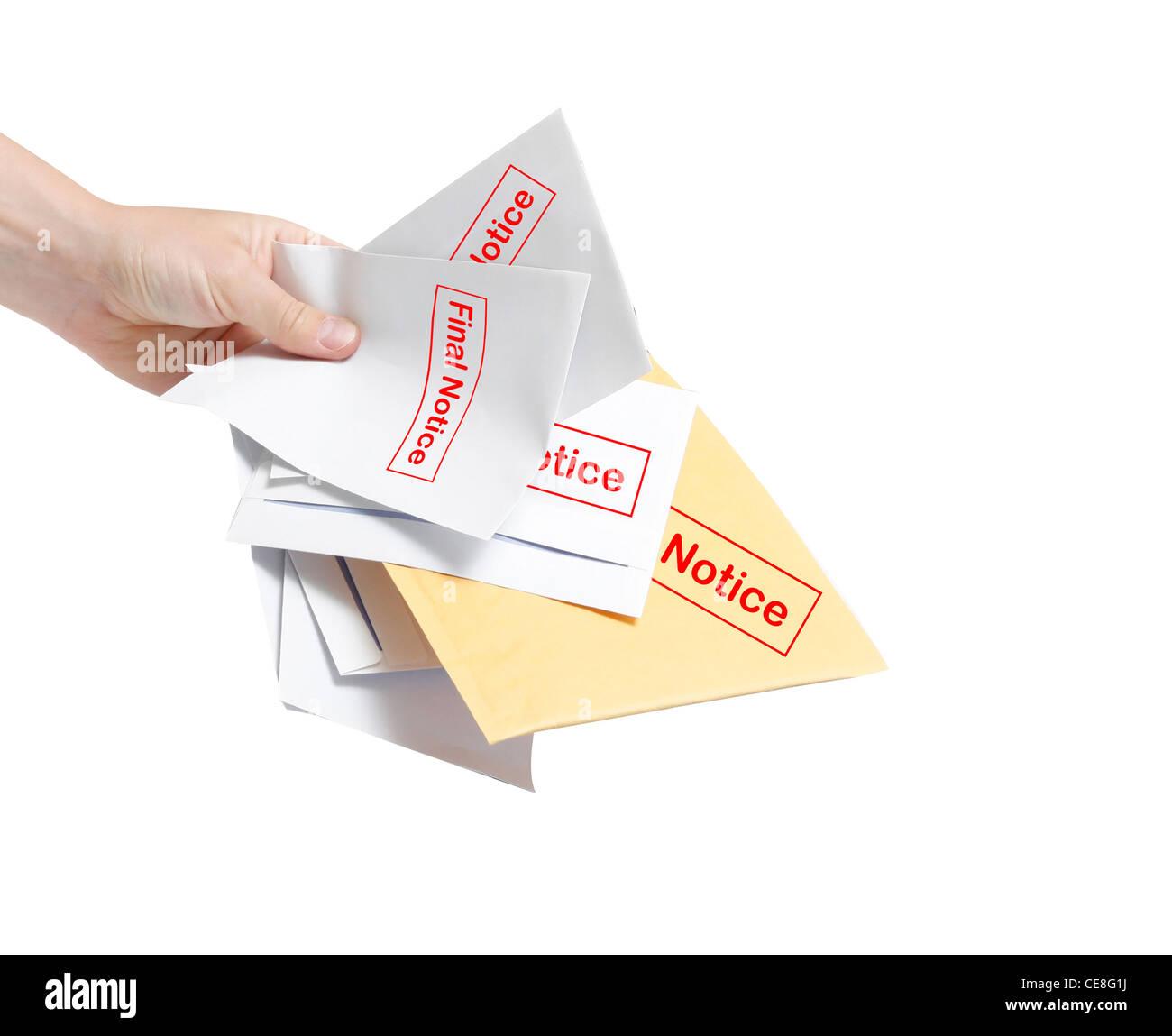 Final notice bills - Stock Image