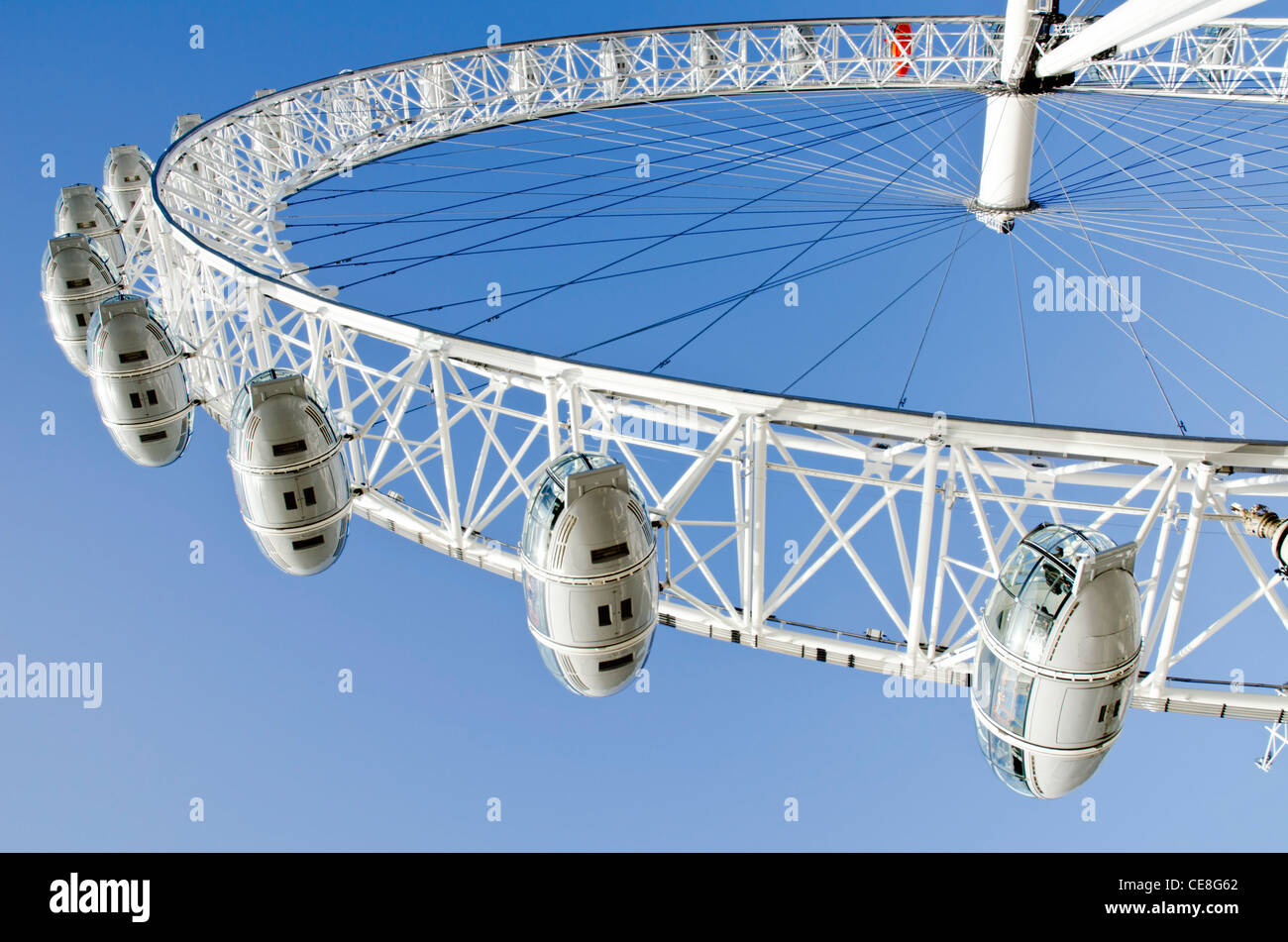 The London Eye (Millennium Wheel) Ferris Wheel on the South Bank of the River Thames in the Borough of Lambeth, - Stock Image