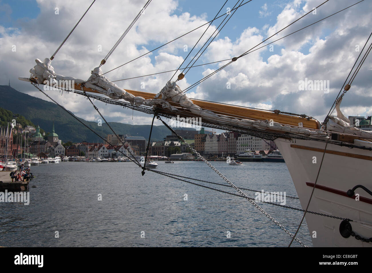 bows of tall ship in port at Bergen Norway Europe - Stock Image