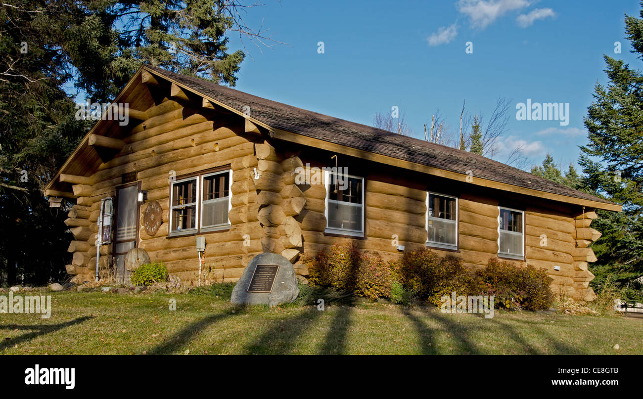 A pioneer cabin at the Finland Minnesota Heritage Site in Finland, Minnesota i - Stock Image