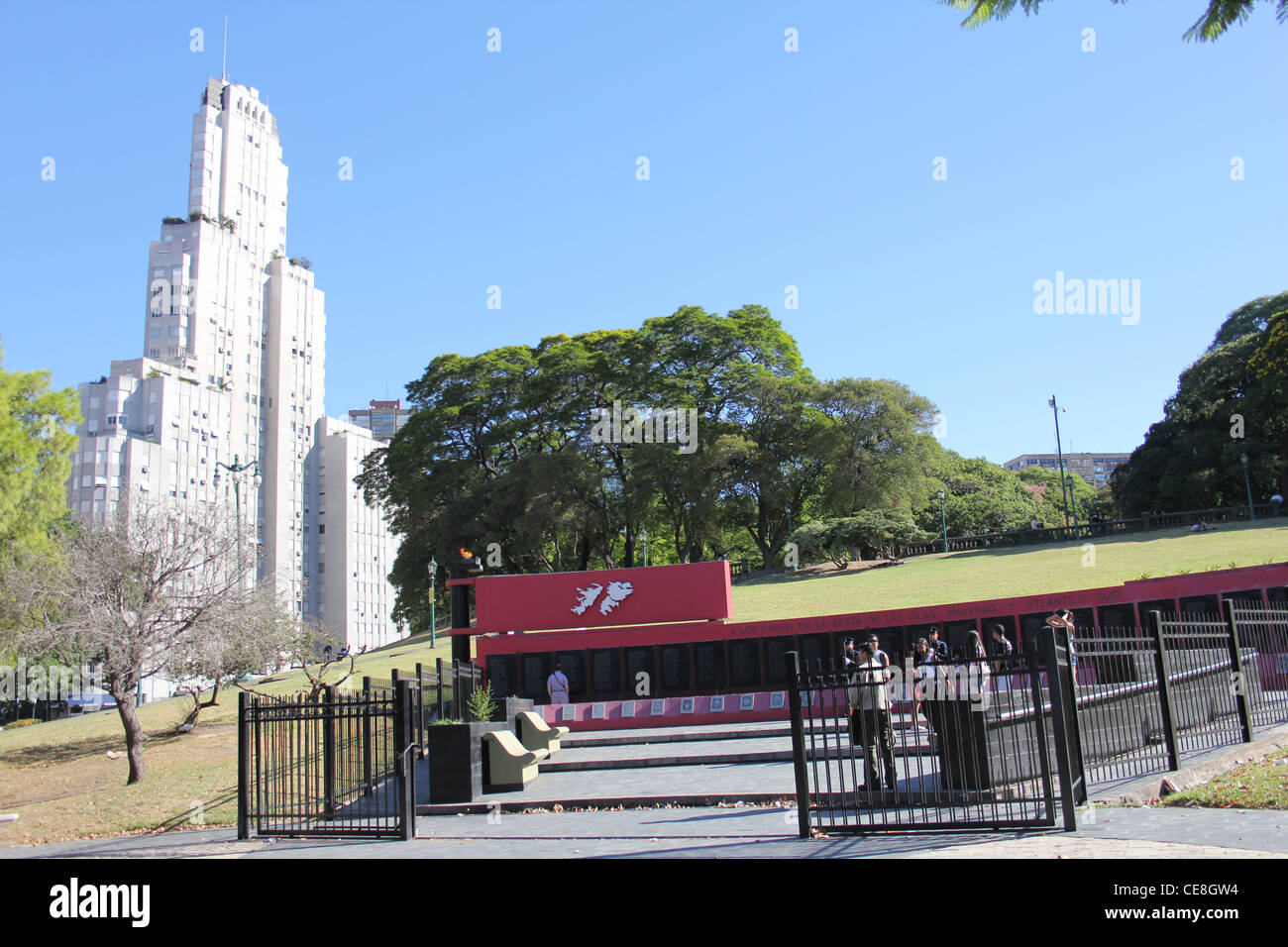 Malvinas Falklands Memorial at Plaza San Martin Buenos Aires Argentina with Cavagnah Building behind - Stock Image