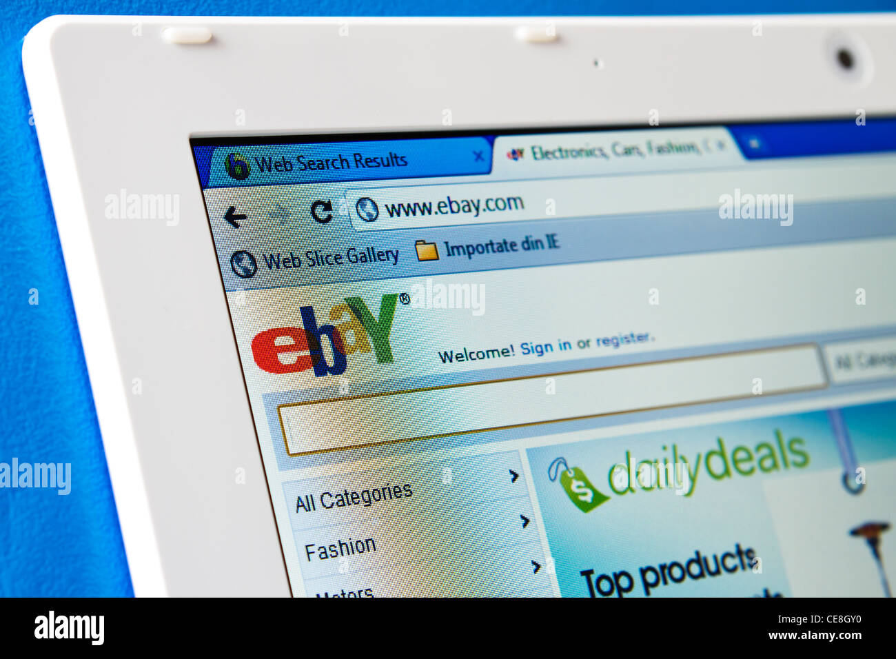 ebay home page - Stock Image