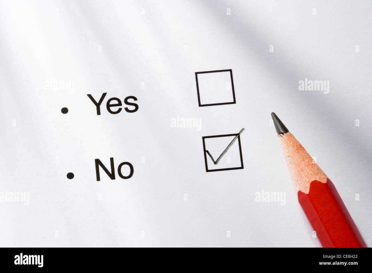 Yes/no option and pencil. No ticked - Stock Image
