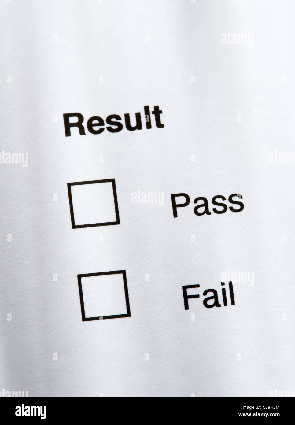 Result - pass or fail. - Stock Image