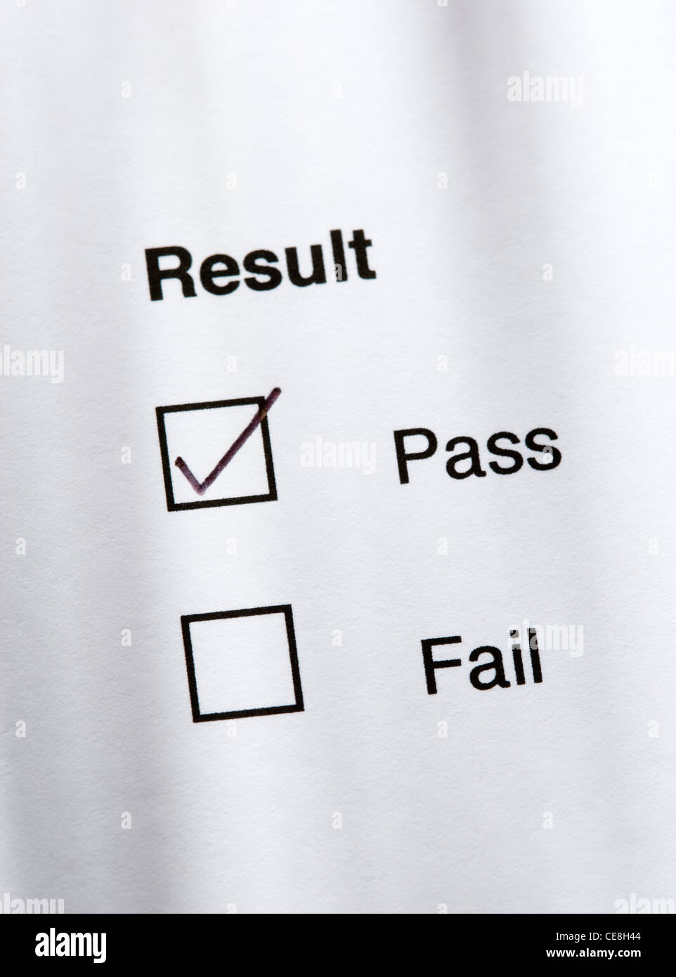 Result - pass. - Stock Image