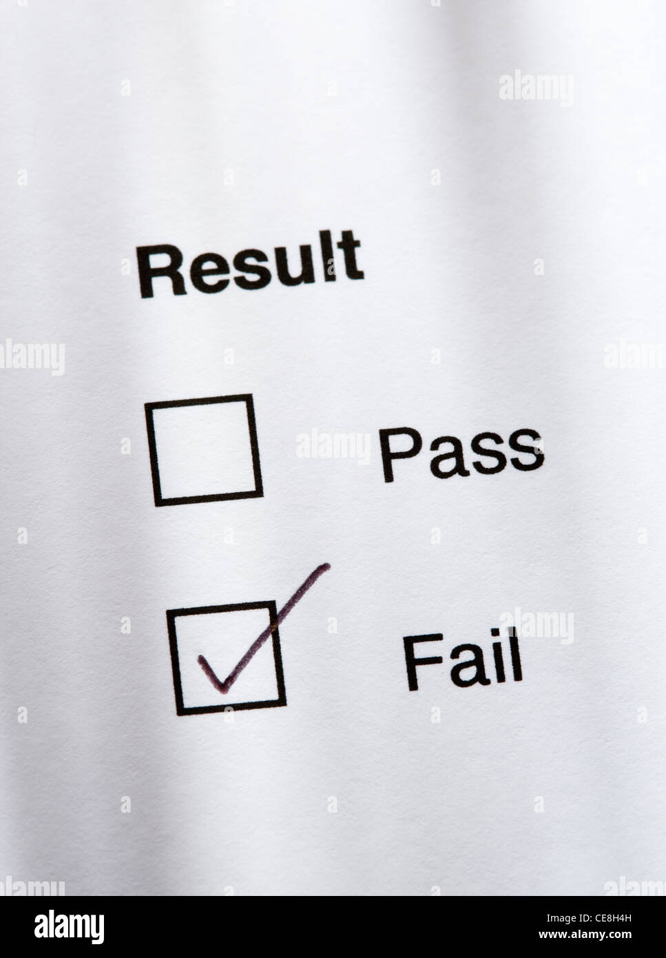 Result - fail - Stock Image